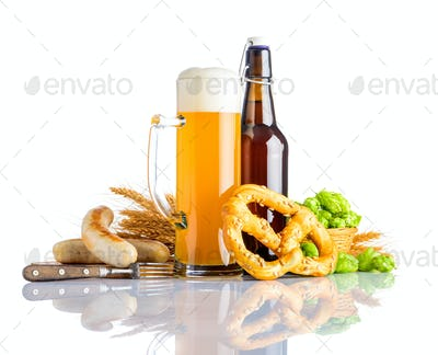 Wheat Beer with Grilled Sausages and Prezel on White
