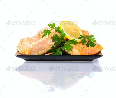 Cooked Salmon Fish Fillet on White Background