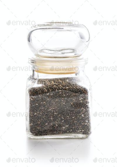 Chia seeds in jar.