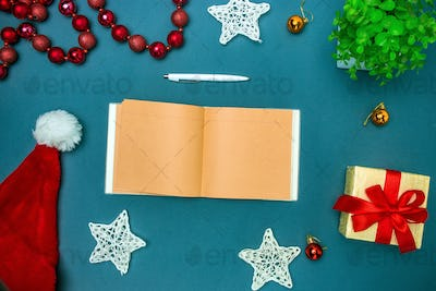Greeting card mock up template with Christmas decorations.