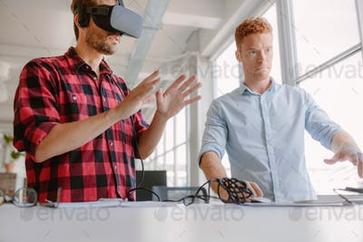 Developers testing an augmented reality device