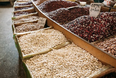 Diversity Of Varicolored Sorts Of Raw Dry Beans In Bulk In Woode