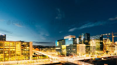 Oslo Norway. Night Panoramic View Of Contemporary District Of Hi