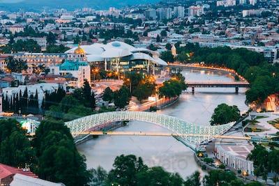 Top Illuminated Cityspape View Of Kura River Under Bridges And C