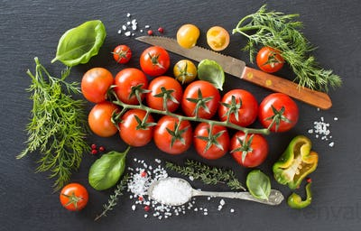 Cherry tomatoes, herbs and salt