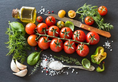 Cherry tomatoes, herbs and olive oil