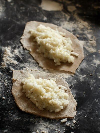 Traditional karelian pasties with rice