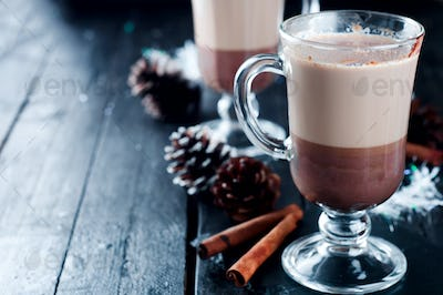 Cup of Christmas cappuccino