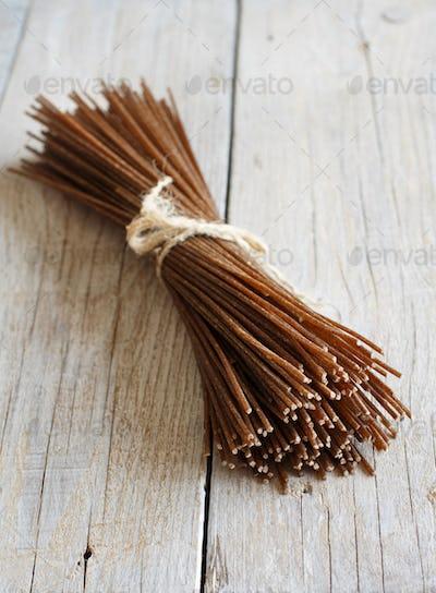 Brown rye spaghetti