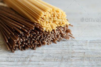 Spaghetti on the old wooden table