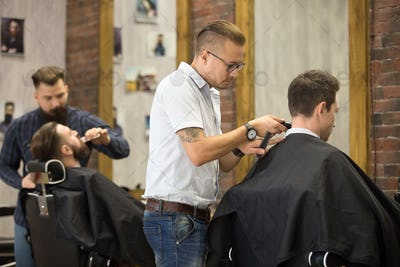 Working process in barbershop