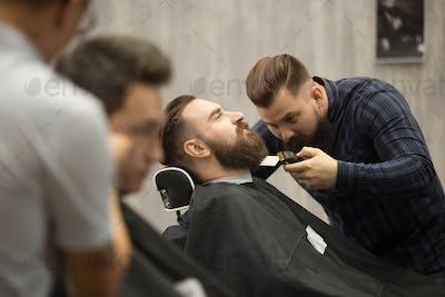 Beard grooming in hairsalon for men