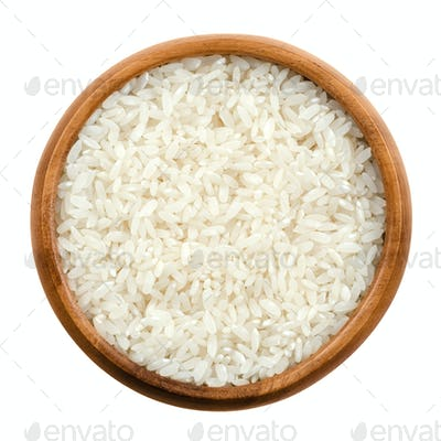 Sushi rice in a wooden bowl over white