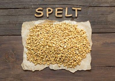 Raw Organic spelt grain with wooden word