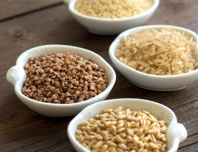 Cereals in bowls close up