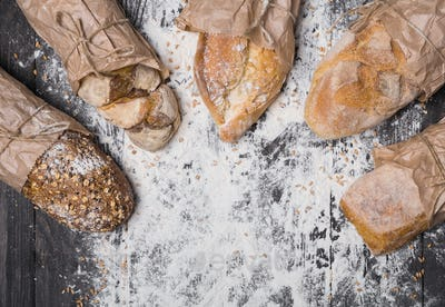 Bakery concept background. Bread sorts with copy space