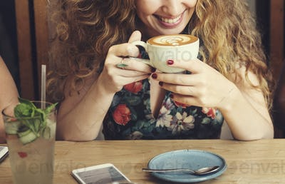 Woman Drinking Coffee Breakfast Refreshment Concept