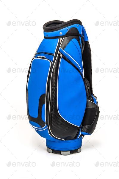Blue golf bag on white background