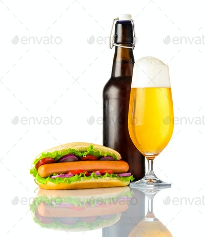 Hot Dog with Cold Beer isolated on white background