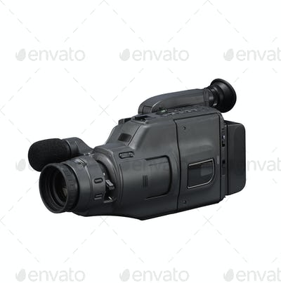 Old video camera isolated on white
