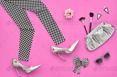 Fashion Stylish Set.Design Outfit.Top viewCosmetic