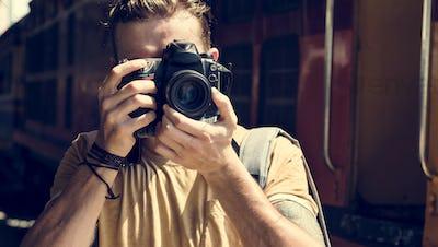 Photographer Camera DSLR Shooting Journalist Concept