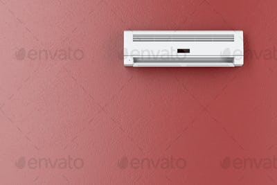 Air conditioner on red wall