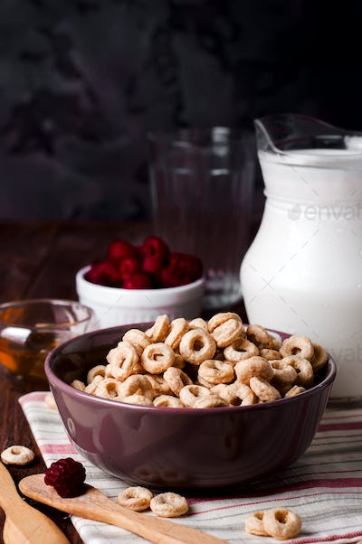 Healthy breakfast - cereal rings in a bowl with milk