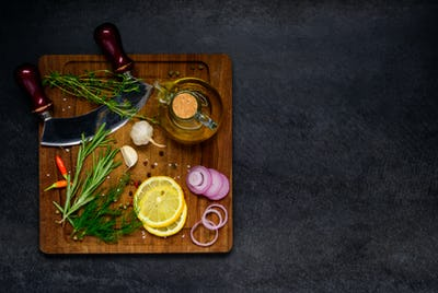 Herbs and Cooking Ingredients with Copy Space