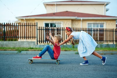 Having fun on skateboard