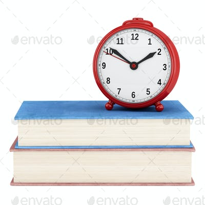 red alarm clock with two books isolated on white background. 3d illustration