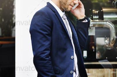 Businessmen Talking Mobile Phone Walking Thinking Concept