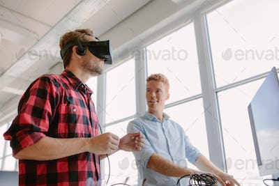 Developers testing an virtual reality device