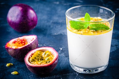 panna cotta dessert with passion fruit and mint