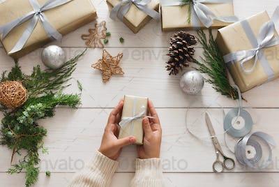 Creative hobby. Making modern handmade christmas present box
