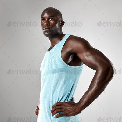 Healthy young black man with muscular body