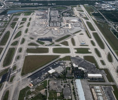 Aerial view of Fort Lauderdale, Hollywood International Airport.
