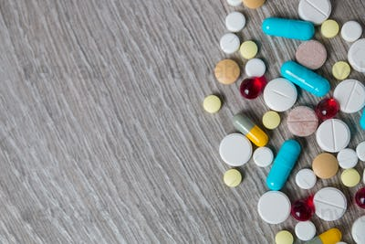 lot of colorful medication and pills from above