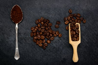 Ground Coffee and Brown Beans
