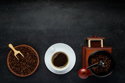 Coffee with White Cup, Grinder and Beans on Copy Space