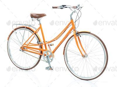 Stylish womens orange bicycle isolated on white