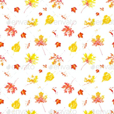 Seamless pattern with autumn leaves imprint watercolor