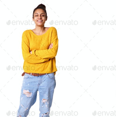 African woman standing with her arms crossed