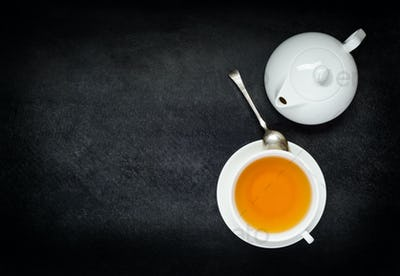 Cup Tea with Teapot and Copy Space