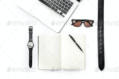 Still life of casual man. Modern male accessories and laptop on white