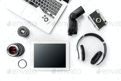 Workplace of business. Modern male accessories and laptop on white