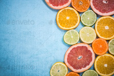 Exotic citrus fruits slices