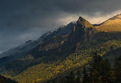 Rock Zakan at sunrise. Caucasus mountains.