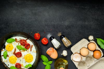 Fried Eggs with Ingredients and Copy Space Area