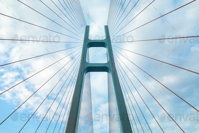 cable-stayed bridge closeup